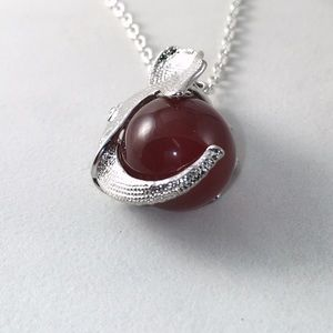 Jewelry - Elephant & Natural Red Agate Stone Necklace 20""